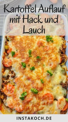 Potato casserole with mince and leek is one of these great simple dishes . Potato Casserole, Casserole Dishes, Romantic Dinners, Lasagna, Macaroni And Cheese, Food And Drink, Favorite Recipes, Lunch, Healthy Recipes