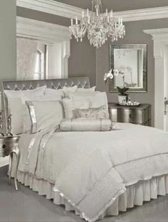 Add instant glam to your bedroom with gorgeous bedding and shimmering touches.