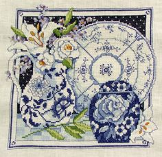 Special Order - BLUE & WHITE Porcelain China Finished/Completed Cross Stitch Piece. Great Gift For Delft Collector. $179.99, via Etsy.