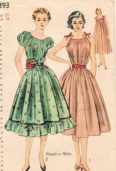 1950s Simplicity 3893 Vintage Sewing Pattern Junior Misses' One-Piece Chemise Dress Size 11 Bust 29