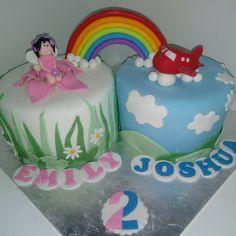 #twins #fairy #plane #aeroplane #rainbow #cake #dlish Birthday Cakes, Plane, Twins, Fairy, Rainbow, Unisex, Desserts, Food, Airplane