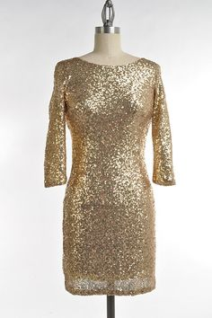 Gold Sequin Bodycon Party Dress- Gorgeous! #LoveMe #Bodycon #Cocktail