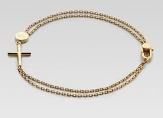 Gucci Men's Gold Bracelet With Cross Pendant
