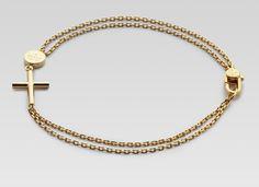 Gucci Men's Gold Bracelet With Cross Pendant