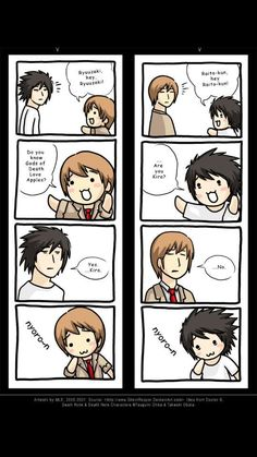 Death Note: Nyoron by SilentReaper on DeviantArt Death Note I, Death Note Funny, Death Note Fanart, Death Note Light, Manga Anime, Devil Part Timer, Nate River, L Lawliet, L And Light