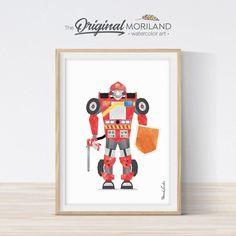 Frank the Firetruck Robot Print - Printable Art Toddler Boy Room Decor, Boys Room Decor, Playroom Decor, Kids Room, Baby Wall Art, Nursery Wall Art, Art Wall Kids, Art For Kids, Gray Texture Background