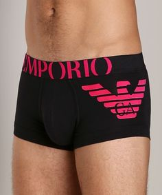 Hot pink and black make a hot color combo, underwear, Emporio Armani, men's style, fashion