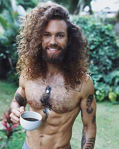 for / men with hair / men curly hair / male Long Curly Hair Men, Curly Hair Man Bun, Man With Long Hair, Hair And Beard Styles, Curly Hair Styles, Zoella Hair, Hair Blog, Great Hair, Moustache