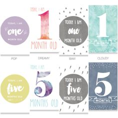 Baby Milestone Cards // Turquoise Designs - the perfect photo prop for your baby, or gift them to a pregnant friend for their babyshower. Watercolour, Monochrome and Pastel designs available.