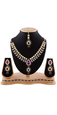 Women's Creative Necklaces in Fuchsia,Maroon And Gold Color.