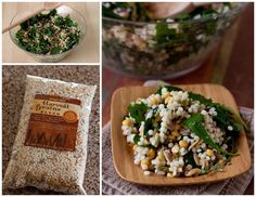 A hearty kale, Israeli style couscous, orzo, baby garbanzo beans, red quinoa, and feta salad. Tastes even better as leftovers.