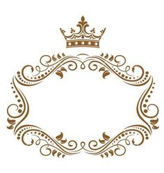 Gold Monogram Border with Crown