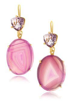 Gemini Druzy Light Purple Earrings
