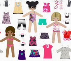 paper dolls fabric by katarina on Spoonflower - custom fabric Quinns room