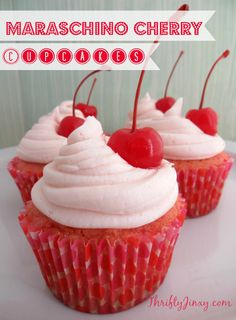 This Maraschino Cherry Cupcakes Recipe is perfect for National Cherry Month, Valentine's Day or any time of year!