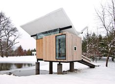 Teahouse/meditation hut by Jeffery Poss;contains a cabinet for making tea and three tatami mats.
