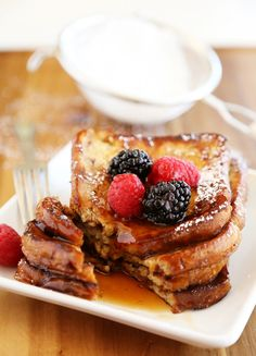 Cinnamon Swirl Bread French Toast – Just 5 ingredients and 10 minutes for this easy, gooey and delicious morning treat. Top with berries! Thecomfortofcooking.com