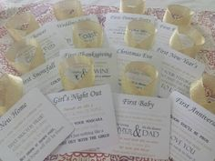 Give a unique gift that is sure to impress! This set of wine basket tags have a poem for each first event in the new couples lives. There are twelve tags