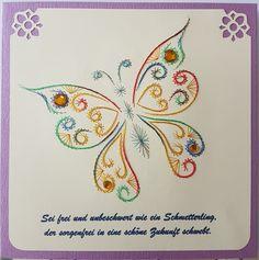 Schmetterling 13 mit Spruch - Motiv: unbekannt - Doppelkarte mit Umschlag 16 x 16cm