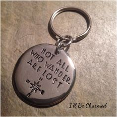 Travel Gift, Graduation Gift, Hand Stamped, Key Chain, Not All Who Wander Are Lost,compass keychain,Gifts for mom, handstamped keychain