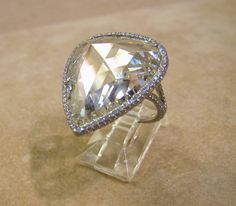 13 Carat Pear Shape Rose Cut Diamond Platinum Ring