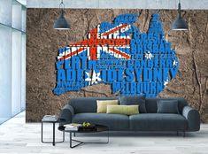 Photo Wallpaper MURAL POSTER Blue Map of Australia
