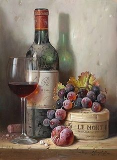 Wine and fruits , from iryna Wine Painting, Fruit Painting, Grape Painting, Paint Photography, Still Life Photography, Painting Still Life, Still Life Art, Still Life Photos, Wine Art