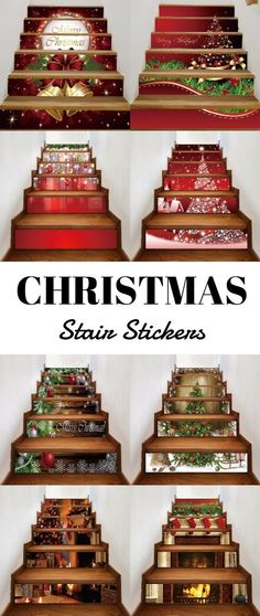 christmas stair stickers #christmasred Christmas Stairs, Cheap Christmas, All Things Christmas, Christmas Home, Vintage Christmas, Christmas Holidays, Christmas Crafts, Christmas Ornaments, Christmas Ideas