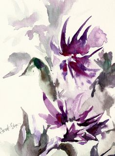 #Abstract Floral #Watercolor Painting Original Watercolor Painting Modern #Watercolour Art Color theme: purple, green  REDUCED PRICE - making room for new art!  One of a kind ... #art #etsy #trending #sale #decor #abstract #painting #watercolor #watercolour #aquarelle
