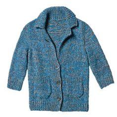 Strickmuster: Blau melierte Jacke stricken - Anleitung und Muster