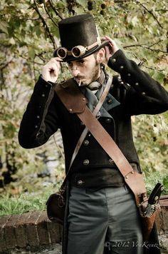 Fantastical Spaniard wears casual steam-punk inspired attire.