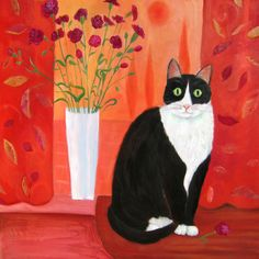 Cat with Flowers - Signed Limited Edition Cat Art Print by Mary Stubberfield