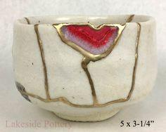 Kintsugi Japanese bowl with geode agate gemstone