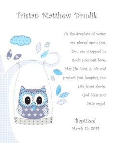 Owl Decor Baptism Gift Christening Gifts for Boys by SnoodleBugs