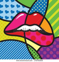 Lips. Sexy. Kiss. Love. Modern pop art artwork for your design