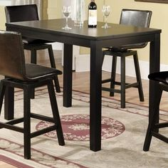 Dining and Kitchen, Black And Shiny Elegant Rectangular Pub Table That Look So Elegant And Appropriate For Your Dining Room With Chairs And Bottles With Glass Also Great Motif Of The Rug On The Floor With Elegant Wall ~ Furnish Your Modern Room With This Long Rectangular Pub Table Style