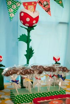 Mario bros party- mustache pops and pirana plant Mario Bros., Mario And Luigi, Mario Kart, Super Mario Birthday, Super Mario Party, 6th Birthday Parties, Birthday Ideas, Super Mario Brothers, Throw A Party