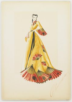Unused costume design by Walter Plunkett for Vivien Leigh in Gone With the Wind (1939).    From Bonham's