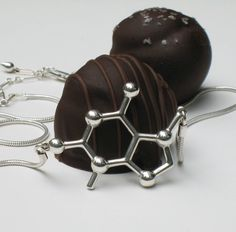 chocolate theobromine molecule necklace by molecularmuse on Etsy, via Etsy.