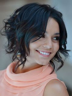 """Chin-length: Vanessa Hudgens Heres a fun way to switch up your look! Even if you dont have a true graduated bob, you can achieve the longer-in-front look with some strategic curling. Use a larger barrel curling iron (1"""" or 1-1/4"""") in front to create looser waves from about the eyebrows down, then go smaller (3/4"""") in back for tight, springy curls, starting about an inch or two from your roots."""