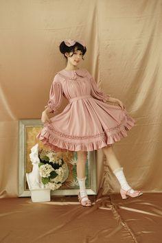 Pure Love Unicolor Chiffon Mid-length Sleeves Peter Pan Collar Classic Lolita OP Dress