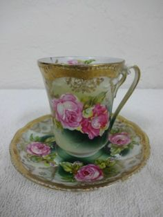 Antique European Hand Painted Cup and Saucer