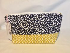 Makeup Bag Handmade Cosmetic Bag Navy Blue Floral and Yellow Gold Toiletry Bag Two Tone Make Up Bag Two Fabric Make Up Pouch by AmyReneeNicosia on Etsy