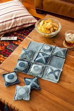 love this recycling idea! Recycling jeans into a tic-tac-toe set. This would also work great for a diy bean bag toss!I love this recycling idea! Recycling jeans into a tic-tac-toe set. This would also work great for a diy bean bag toss! Fabric Crafts, Sewing Crafts, Sewing Projects, Craft Projects, Upcycled Crafts, Craft Tutorials, Outdoor Projects, Fabric Decor, Sewing Tutorials