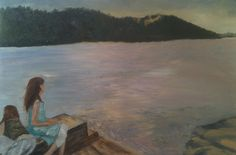 On the jetty (Georges River). Oil on canvas. 77x50cm