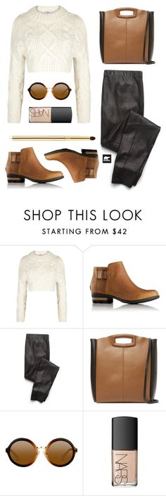 """Kick Up the Leaves (Stylishly) With SOREL: CONTEST ENTRY"" by fiovasquez ❤ liked on Polyvore featuring DKNY, SOREL, Splendid, Maje, NARS Cosmetics, tarte and sorelstyle"