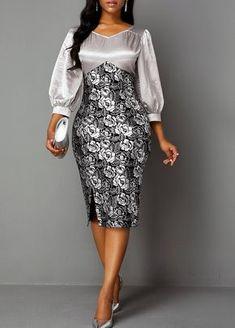 Cocktail Party Dress Side Slit Lantern Sleeve Back Zipper Sheath Dress Latest African Fashion Dresses, Women's Fashion Dresses, Dress Outfits, Party Dress Sale, Club Party Dresses, Elegant Dresses, Sexy Dresses, Sheath Dresses, Trendy Dresses
