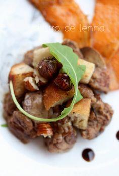Foies de volailles, noisettes et croûtons : recette testée, très bonne cuisson, attention à la quantité de noisettes et de piments