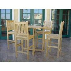"Check out the Anderson Teak 9 Bahama 39"" Round Bar Table and 4 Avalon Bar Chairs"