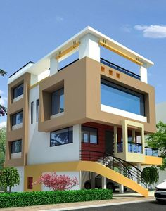 Top 30 Most Beautiful Houses Front Designs 2019 To see more house design ideas click Flat Roof House, Facade House, Bungalow House Design, Modern House Design, Front Wall Design, House Elevation, Building Elevation, Front Elevation, Independent House
